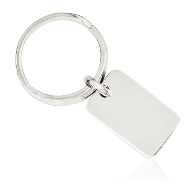 Sterling Silver  Rectangular Engravable Key Ring