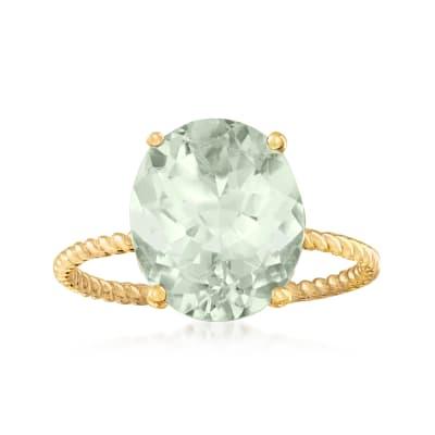 4.30 Carat Prasiolite Ring in 14kt Yellow Gold