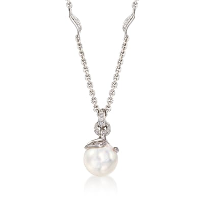 Mikimoto 8.5mm A+ Akoya Pearl Pendant Necklace with .15 ct. t.w. Diamonds in 18kt White Gold