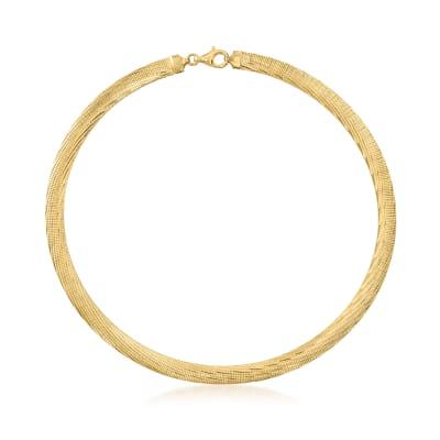 Italian 18kt Gold Over Sterling Reversible Omega Necklace
