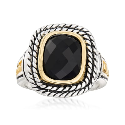 Black Onyx Ring in Sterling Silver and 14kt Yellow Gold