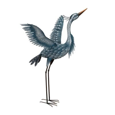 Metallic Blue Heron Decorative Garden Statue - Wings Up
