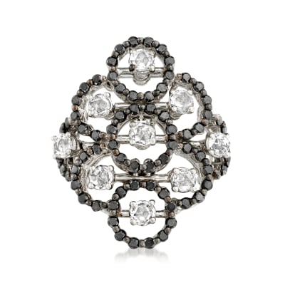 C. 1990 Vintage Damiani 1.55 ct. t.w. Black and White Diamond Cluster Ring in 18kt White Gold