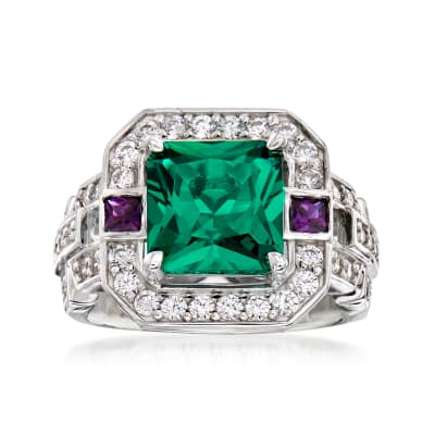 4.35 ct. t.w. Simulated Emerald and Amethyst Ring with .70 ct. t.w. CZs in Sterling Silver