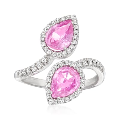 2.40 ct. t.w. Pink Sapphire and .35 ct. t.w. Diamond Bypass Ring in 14kt White Gold