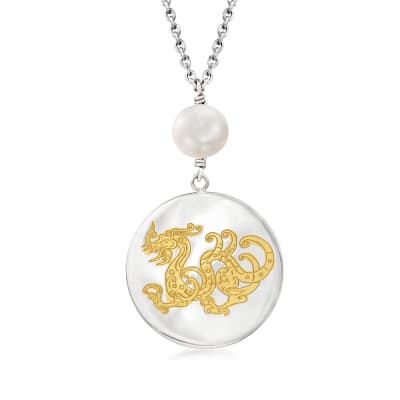 8-9mm Cultured Pearl Dragon Pendant Necklace in Two-Tone Sterling Silver