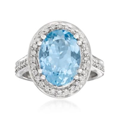 3.80 Carat Aquamarine and .44 ct. t.w. Diamond Ring in 14kt White Gold