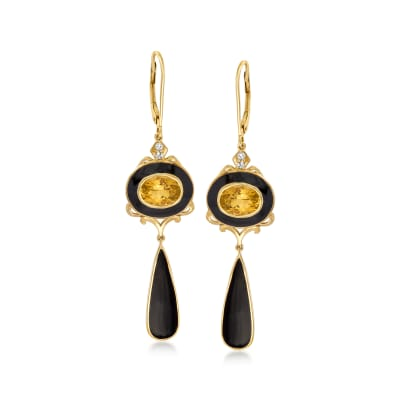 2.40 ct. t.w. Citrine and .10 ct. t.w. White Topaz Drop Earrings with Black Enamel in 18kt Gold Over Sterling