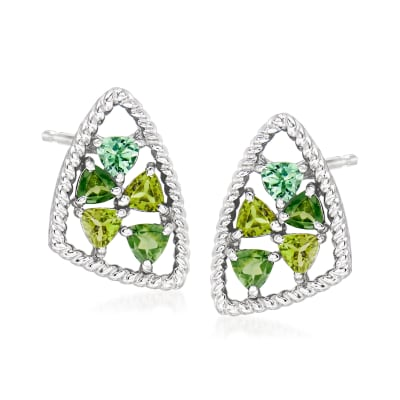 """Andrea Candela """"Mosaico"""" .90 ct. t.w. Tonal Green Tourmaline Earrings in Sterling Silver"""