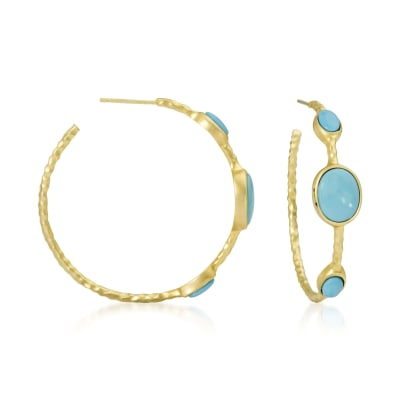Turquoise Hoop Earrings in 14kt Gold Over Sterling Silver