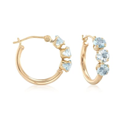 1.70 ct. t.w. Sky Blue Topaz Huggie Hoop Earrings in 14kt Yellow Gold
