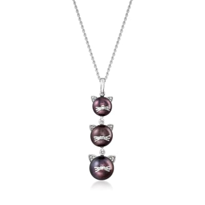 7-9.5mm Black Cultured Pearl Cat Pendant Necklace with Diamond Accents in Sterling Silver