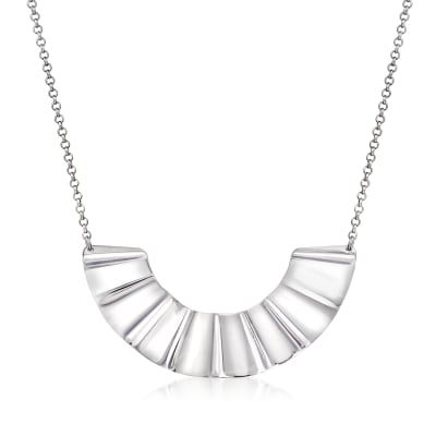 Italian Sterling Silver Crinkle Necklace