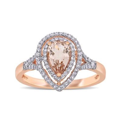 .60 Carat Morganite and .24 ct. t.w. Diamond Ring in 14kt Rose Gold