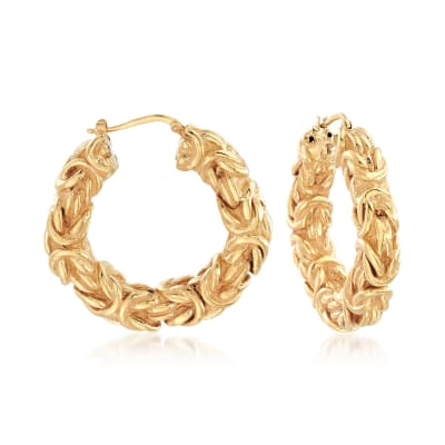 Italian 18kt Yellow Gold Byzantine Hoop Earrings