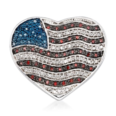 .32 ct. t.w. Red, White and Blue Diamond American Flag Heart Pin in Sterling Silver