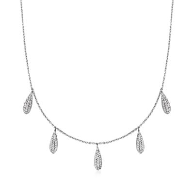 .85 ct. t.w. Diamond Multi-Drop Necklace in 14kt White Gold