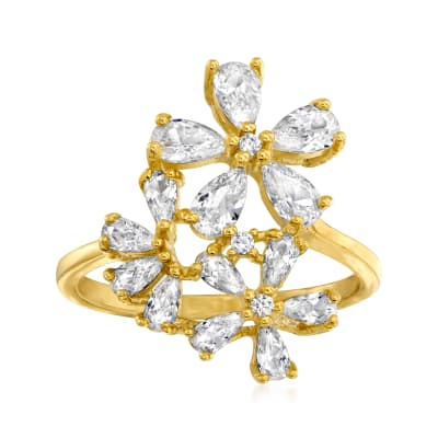 2.69 ct. t.w. CZ Flower Ring in 18kt Gold Over Sterling