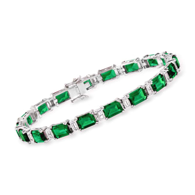 18.00 ct. t.w. Simulated Emerald and .60 ct. t.w. CZ Bracelet in Sterling Silver