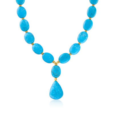 Turquoise Necklace in 18kt Gold Over Sterling Silver