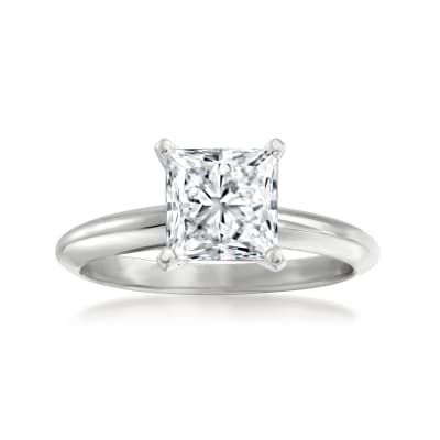 2.08 Carat Certified Princess-Cut Diamond Ring in Platinum