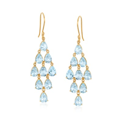 14.00 ct. t.w. Sky Blue Topaz Chandelier Drop Earrings in 18kt Gold Over Sterling