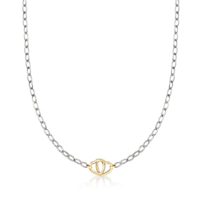 Italian Sterling Silver and 14kt Yellow Gold Interlocking Heart Necklace