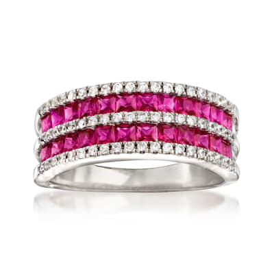 1.20 ct. t.w. Simulated Ruby and .30 ct. t.w. CZ Double-Row Ring in Sterling Silver