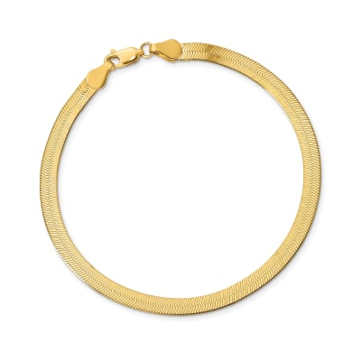 14kt Yellow Gold 4mm Herringbone Bracelet