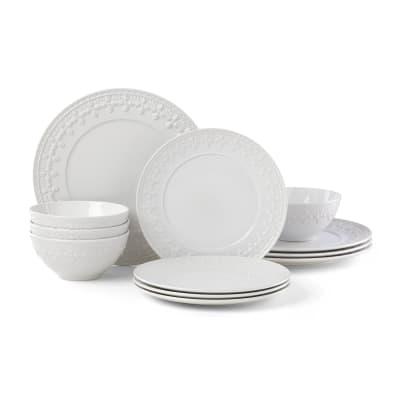 """Lenox """"Chelse Muse"""" Fleur White Ironstone Dinnerware Set"""
