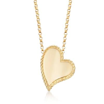 "Roberto Coin ""Princess"" 18kt Yellow Gold Heart Pendant Necklace"