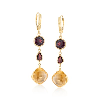 10.00 ct. t.w. Citrine and 6.30 ct. t.w. Garnet Drop Earrings in 14kt Yellow Gold