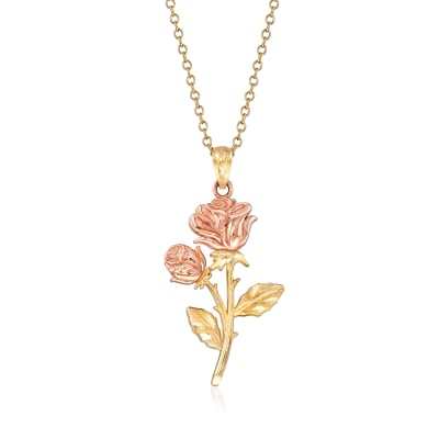 14kt Two-Tone Gold Rose Pendant Necklace