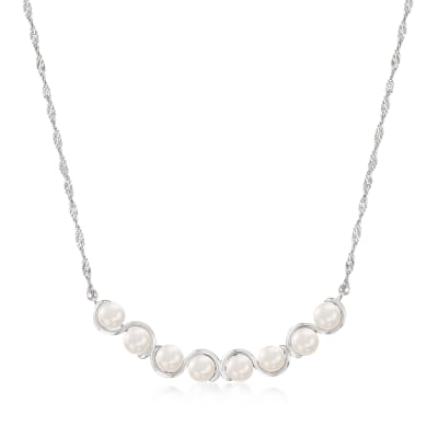 5.5-6mm Cultured Pearl Necklace in Sterling Silver
