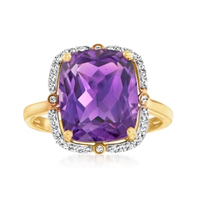 5.75 Carat Amethyst and .13 ct. t.w. Diamond Ring in 14kt Gold Over Sterling
