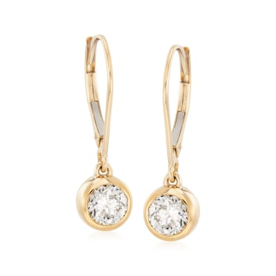 1.00 ct. t.w. Diamond Bezel-Set Drop Earrings in 14kt Yellow Gold