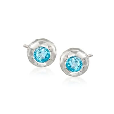 """Zina Sterling Silver """"Ripples"""" 1.00 ct. t.w. Blue Topaz Stud Earrings"""