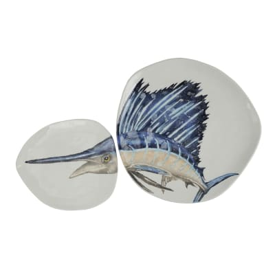 "Vietri ""Pesca"" Blue Marlin Dish Set from Italy"