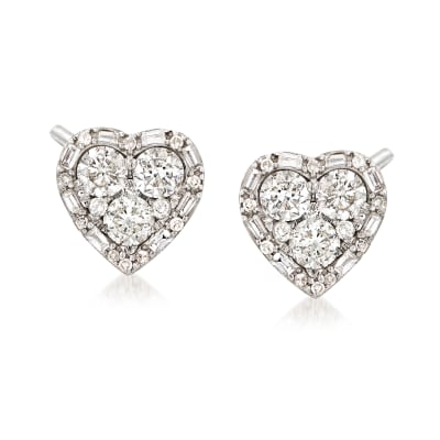 1.20 ct. t.w. Diamond Heart Earrings in 14kt White