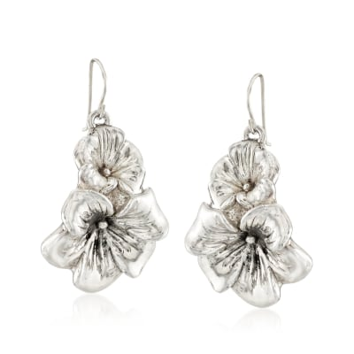Sterling Silver Flower Duo Drop Earrings