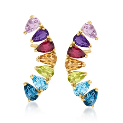 3.30 ct. t.w. Multi-Gemstone Ear Climbers in 14kt Yellow Gold