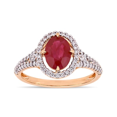 1.40 Carat Ruby and .34 ct. t.w. Diamond Ring in 14kt Rose Gold