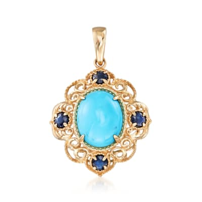 Sleeping Beauty Turquoise and .40 ct. t.w. Sapphire Pendant in 14kt Yellow Gold