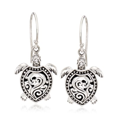 Sterling Silver Filigree Turtle Drop Earrings