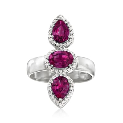 2.80 ct. t.w. Rhodolite Garnet and .30 ct. t.w. White Zircon Frame Ring in Sterling Silver