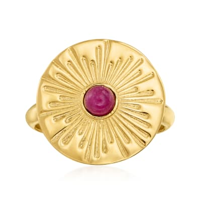 Italian .20 Carat Ruby Starburst Ring in 18kt Gold Over Sterling