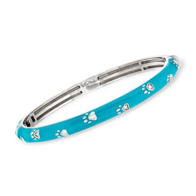 "Belle Etoile ""Paw Prints"" Turquoise Enamel Bangle Bracelet with CZ Accents in Sterling Silver"