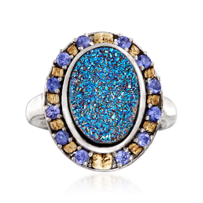 Blue Drusy and .30 ct. t.w. Tanzanite Ring in Sterling Silver and 18kt Gold Over Sterling