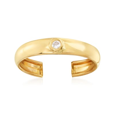 14kt Yellow Gold Toe Ring with CZ Accent