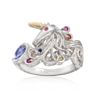 .50 ct. t.w. Multi-Gem Unicorn Ring in Sterling Silver and 14kt Yellow Gold